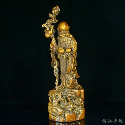Collectable China Old Boxwood Hand-Carved Immortal Moral Auspicious Decor Statue