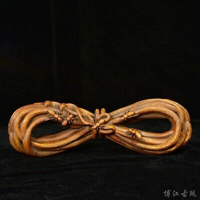 Collectable China Old Boxwood Hand-Carved Ant & String Unique Delicate Statue