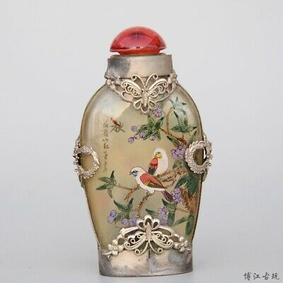 Collect Miao Silver Armour Glass Inside Paint Bird & Flower Luck Snuff Bottle