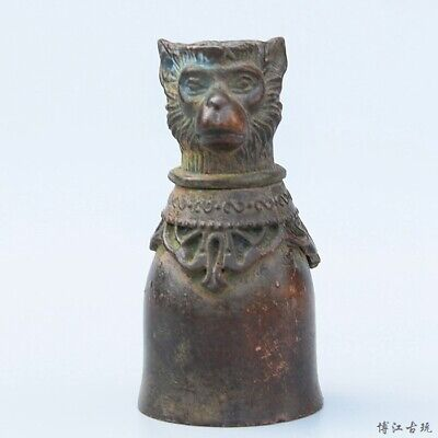 Collectable China Old Bronze Hand-Carved Twelve Zodiac Monkey Delicate Wine Cup