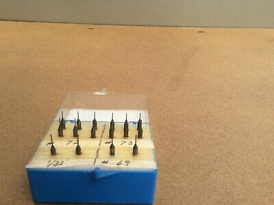 """16 Micro Precision Drill bits 1/32"""" and Nos. 72, 73 and 69  Made in Germany"""
