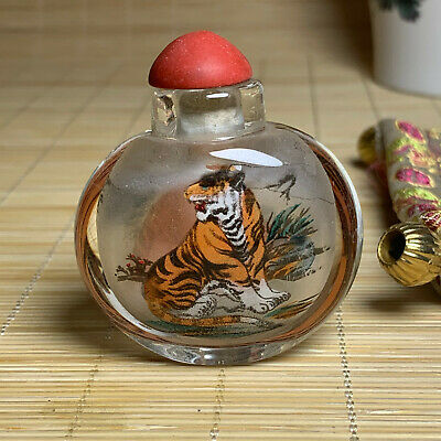 Chinese exquisite carved double-sided tiger glass snuff bottle