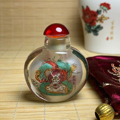 Chinese exquisitely carved ancient legend double-sided dragon glass snuff bottle