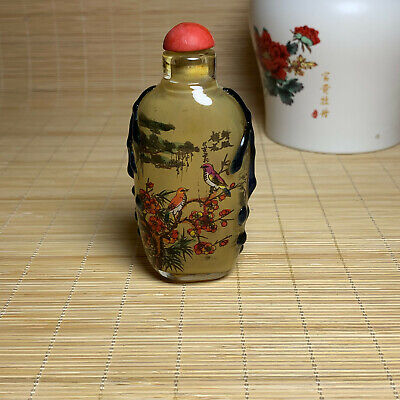 Chinese beautifully carved landscape painting plum magpie snuff bottle