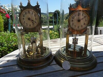 Antique Badische uhrenFabrik Anniversary 400 Day Mantel Clocks.One Running,