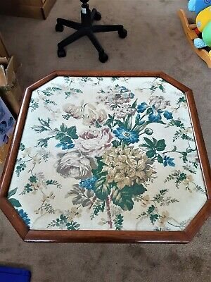 Fire screen/ table.  Wooden with fabric screen print.  Victorian/Edwardian