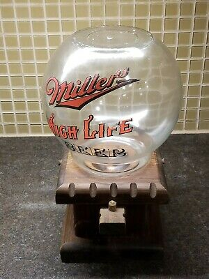 4/23) VTG UNIQUE Miller High Life Beer Candy Peanut Dispenser Glass Globe & Base