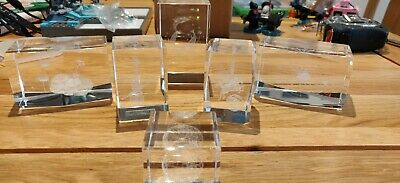 Crystal Clear Collectables, Laser Art Paperweight, 3D etched job lot 6 x rare