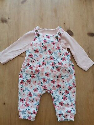 Marks And Spencer Baby Girl 0-3 Months Floral Dungarees And Vest Set (Current)