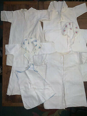 Antique Infant Sleeping Gowns Felt Cotton 1920's Lot Of Six Vtg Fabric Crafts