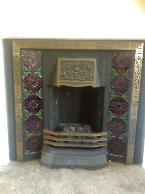 Antique / Victorian Style Cast Iron Tiled Fireplace