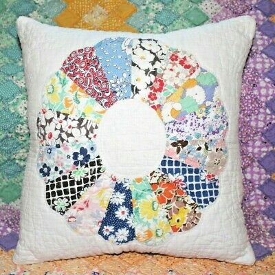 NEW Throw Pillow Made From Vintage 1930's Handmade Quilt DP14-G