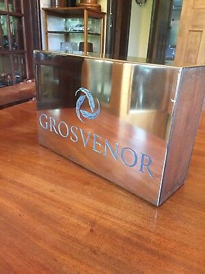 Reduced Vintage Industrial Brass Wood Display Grosvenor Hotel Sign Advertising
