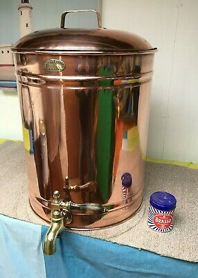 Large Vintage Copper Tea Water Urn  With Lid Samovar Boiler 'Rowe Bros Bristol'