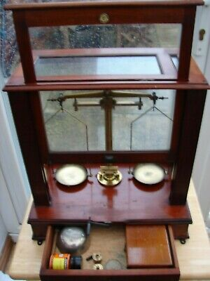 Antique,Vintage,Laboratory weighing and balancing scales. London maker.