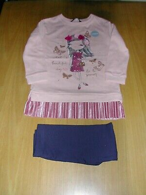Girls 2 Piece Set   -  Dress And Leggings  -  Pink / Navy  -  Age 5-6  -  New