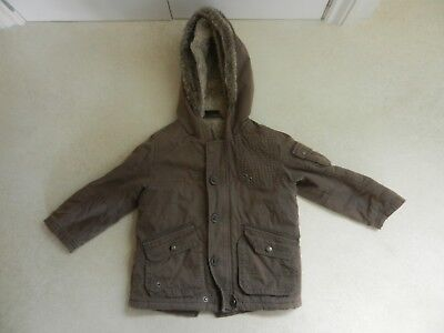 Next Boys  Brown Hooded Fluffy Fleece Lined Warm Jacket Coat Age 2-3 years
