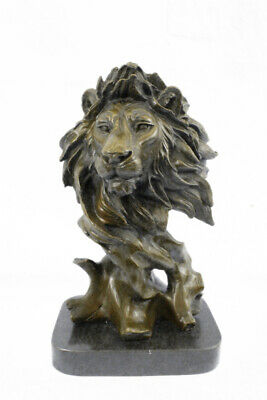 Large Bust Male Lion Bronze Sculpture Statue Figurine Figure by Barye Art Deco