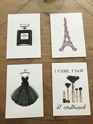 NEW - Set of 4 Fashion Wall Art Prints A5 - bedroom decor unframed poster coco
