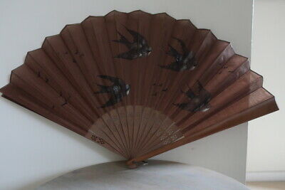 Vintage 1930's – 1940's Hand Painted Fan Bamboo Swifts