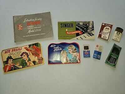 Lot Vintage Sewing Needles Cards Holder Books Pins Advertising Old Collectibles