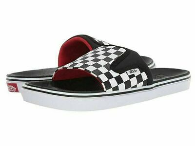 NWT VANS Off The Wall ULTRA CUSH SLIDE-ONS Checkerboard BLACK WHT Sandal MENS 13