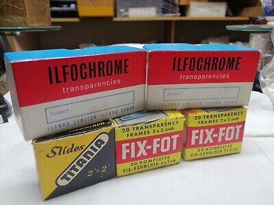 46 Vintage Slide Frames Mounts And Two Boxes of Iford Ilfochrome