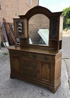 Antique Edwardian Large Solid Oak Sideboard Extremely Pretty