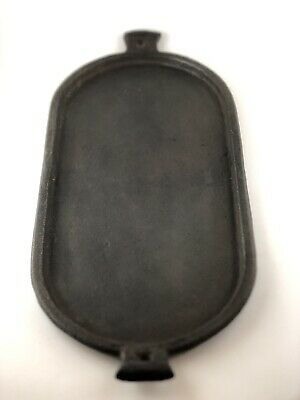 Antique Or Vintage Cast Iron Oval Griddle Serving Tray Sad Iron Tray Unmarked*