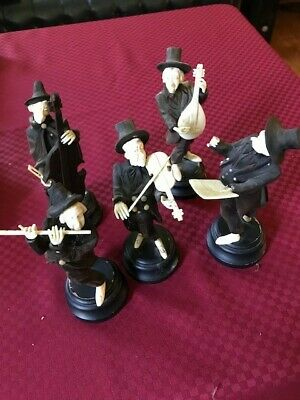 Rare Antique wood 5 carvings of Orchestra (German?)