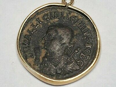 Constantine Great Authentic Ancient Roman ROME Coin 14kt Pendant