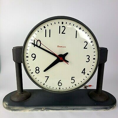 Vintage Simplex Double Sided Electric Wall Ceiling Clock Original Free Shipping