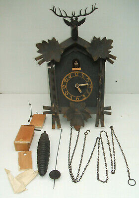 Vintage Cuckoo Clock with Stag's Head - Made in Germany - Working Well no Sound