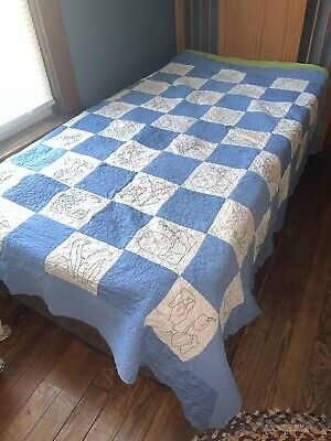 Vintage Quilt Needs Repair Or Cutter Quilt Embroidered Flowers