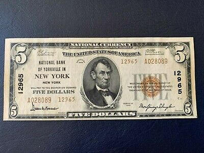 1929 $5 National Bank of Yorkville, New York, NY Ch. #12965 Serial No. A028089