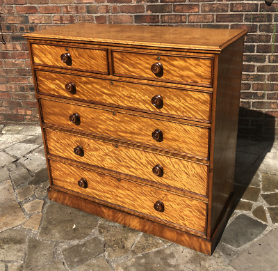 Antique Victorian Solid Satin Walnut Large Chest Of Drawers