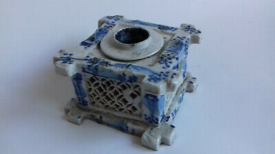 Antique Oriental Ceramic Inkwell