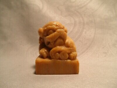 Good Chinese Carved Jade Hardstone  Foo Dog Fu Lion Seal