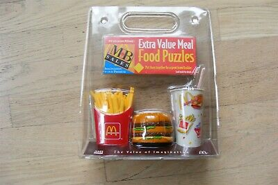 Vintage NEW McDonalds Extra Value Happy Meal Food Puzzles MB Sales