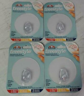 NEW LOT OF 4 Elmer's Freestyle Repositionable/Restickable Hooks Clear