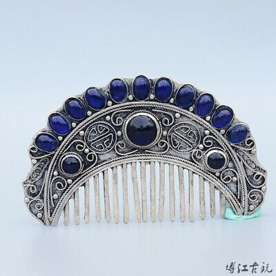 Collect China Old Miao Silver Inlay Zircon Hand-Carved Bloomy Flower Luck Comb