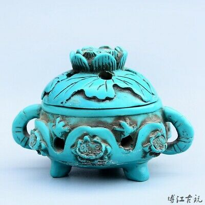 Collectable China Old Turquoise Hand-Carved Bloomy Lotus Moral Bring Luck Censer