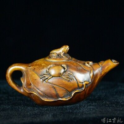 Collectable China Old Boxwood Hand-Carved Frog & Crad Delicate Tea Pot Statue