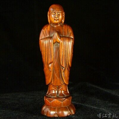 Collectable China Old Boxwood Hand-Carved Buddha Delicate Buddhism Decor Statue