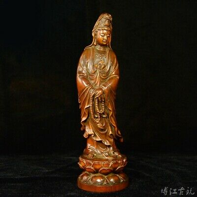 Collectable China Old Boxwood Hand-Carved Lotus Kwan-Yin Buddhism Decor Statue
