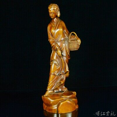 Collectable China Old Boxwood Hand-Carved Fairy Delicate Noble Decorate Statue