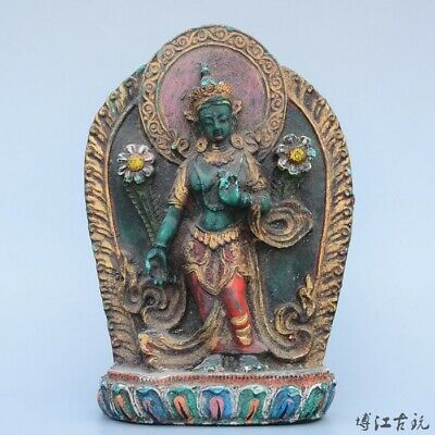 Collectable China Old Turquoise Hand-Carved Happy Buddha Bring Luck Decor Statue