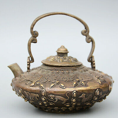 Collectable China Old Bronze Hand-Carved Twelve Zodiac & Flower Delicate Tea Pot