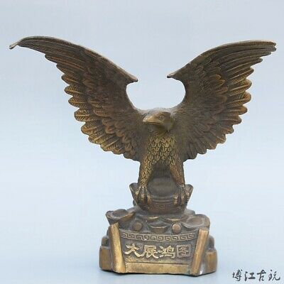 Collectable China Old Bronze Hand-Carved Fierce Eagle Delicate Decorate Statue