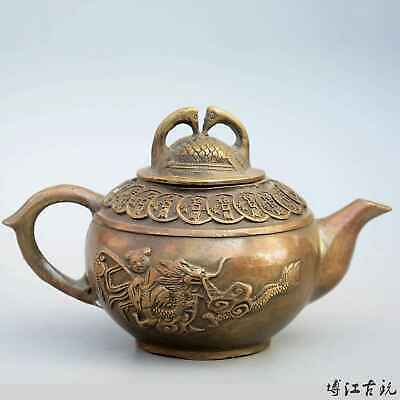 Collect China Old Bronze Hand-Carved Fairchild Ride Dragon & Wealth Luck Tea Pot